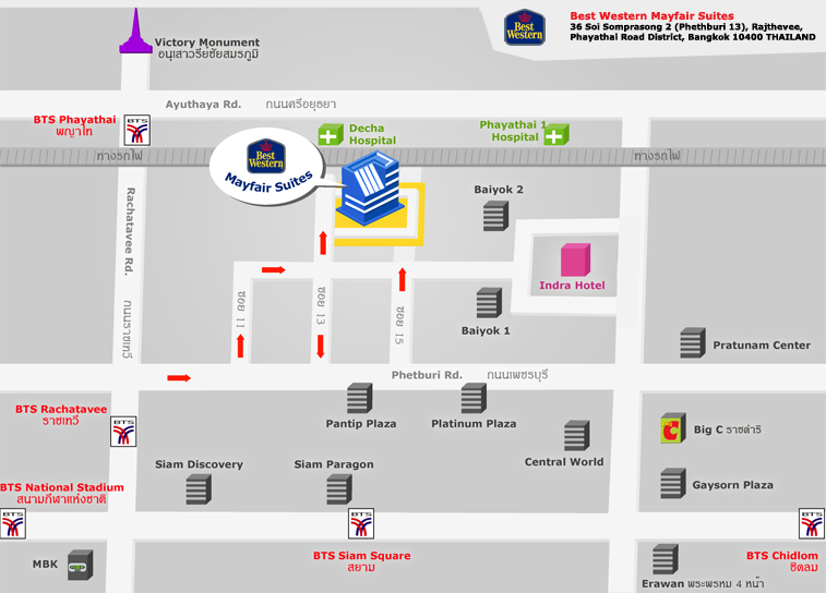 Map Of Icheck Inn Mayfair Pratunam